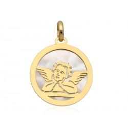 Medalik złoty aniołek z masą perłową,złoto pr.585