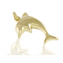 Wisior złoty delfin dmuchany,złoto 585,delfinek