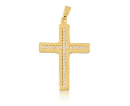 Krzyżyk złoty z cyrkoniami, złoto pr.585