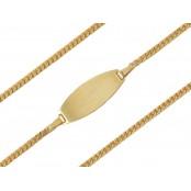 Złota bransoletka pancerka z blaszką 17cm, pr.585