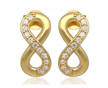 Złote kolczyki nieskończoność z cyrkonią,złoto585