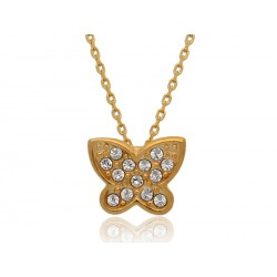 Naszyjnik gwiazd pozłacany motylek z symilkami pr.925